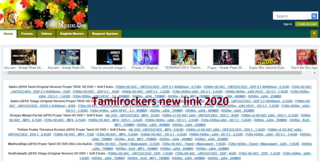 Tamilrockers new link site