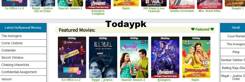 Todaypk tamilrockers site